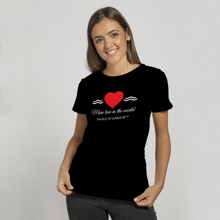 "T-shirt mixte noir ""More love in the world"" - Vague d'Amour • La Vague d'Amour"