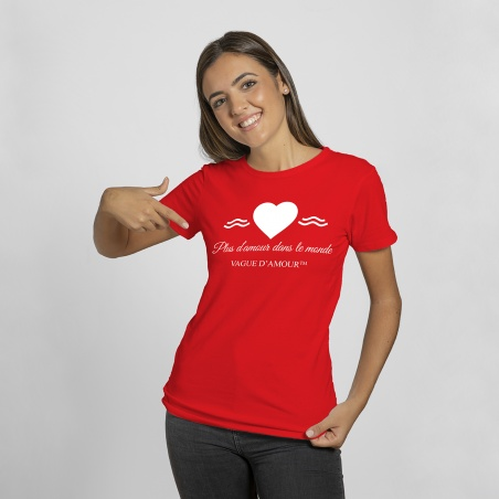 "T-shirt Femme rouge ""Plus d'amour dans le monde"" - Vague d'Amour • La Vague d'Amour"