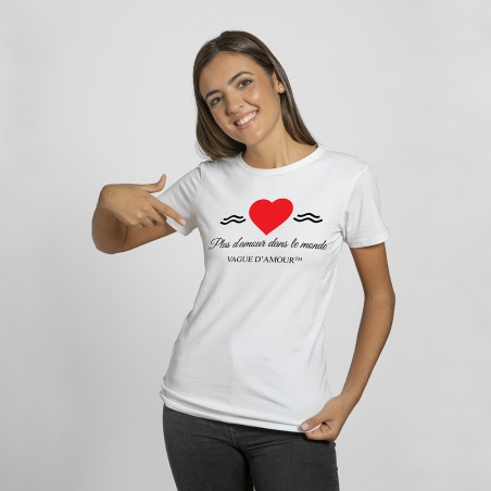 "T-shirt Femme blanc ""Plus d'amour dans le monde"" - Vague d'Amour • La Vague d'Amour"