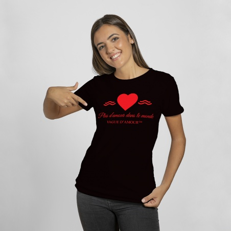 "T-shirt Femme noir/rouge ""Plus d'amour dans le monde"" - Vague d'Amour • La Vague d'Amour"