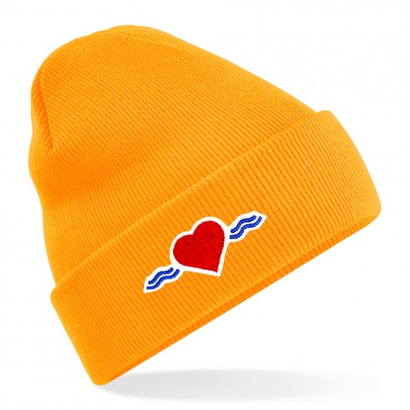 Bonnet orange fluo à revers • Vague d'Amour • La Vague d'Amour