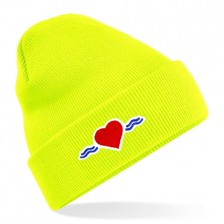 Bonnet jaune fluo à revers • Vague d'Amour • La Vague d'Amour