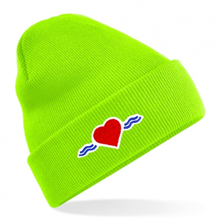 Bonnet vert fluo à revers • Vague d'Amour • La Vague d'Amour